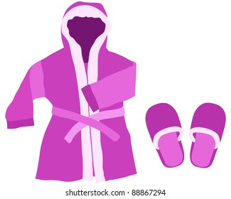 Dressing gown and slippers on a white background