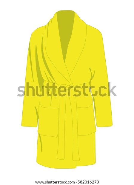 Dressing gown yelow realistic vector illustration isolated