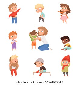 Dressing up kids. Children changing clothes dresses and pants with shoes vector pictures set