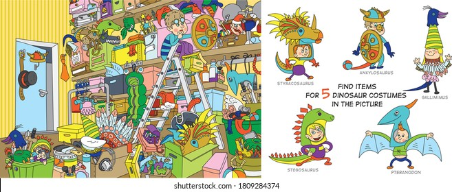 Dressing room. Cheerful vector illustration. Find 5 dinosaur costume parts in the picture.Puzzle Hidden Items. Funny cartoon character