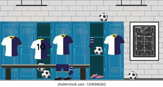 dressing room football,lockers,soccer uniform and balls,open and closed lockers,flat vector illustration