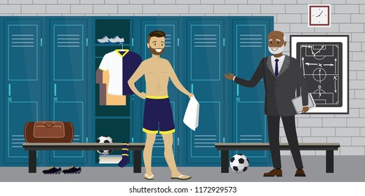 Dressing room interior with lockers with sporting equipment,football player and coach,open and closed lockers,flat vector illustration