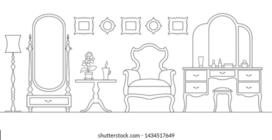Dressing room in outline style. Interior room with mirror vanity makeup and accessories. Linear girls room. Vector illustration.