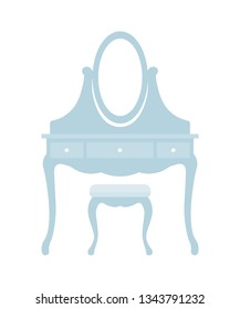 Dressing table in classical style. Bedroom furniture. Vector flat illustration