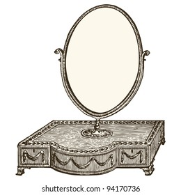 """Dressing table engraving - Vintage engraved illustration  - """"Le Mobilier"""" Ed.Edouard Rouveyre  in 1915 France"""