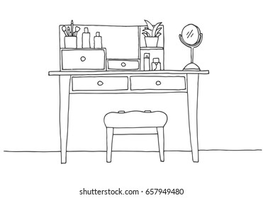 Dressing table in sketch style. Vector illustration is hand drawn.