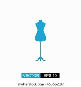 Dressmaker model vector. Isolated blue icon on white background.