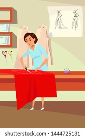 Dressmaker occupation flat vector illustration. Young atelier worker, tailor working with cloth cartoon character. Professional sewing studio, tailoring workshop. Handmade clothing making process