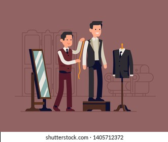 Dressmaker shop concept illustration with tailor measuring client while he stands on fitting platform wearing unfinished suit. Tailored suit atelier scene