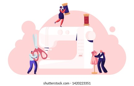 Dressmakers Create Outfit and Apparel on Sewing Machine, Fashion Design Concept, Assistant Working with Mannequin. Creative Atelier, Tailor Textile Craft Business. Cartoon Flat Vector Illustration