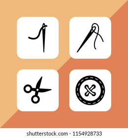 dressmaking icon. 4 dressmaking set with scissor, needle with thread to sew clothes, tailor and clothes button vector icons for web and mobile app