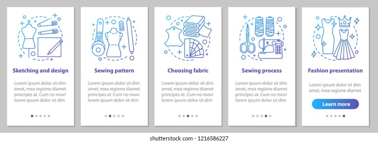 Dressmaking onboarding mobile app page screen with linear concepts. Tailoring. Sketching and design, sewing process, fashion steps instructions. UX, UI, GUI vector template with illustrations