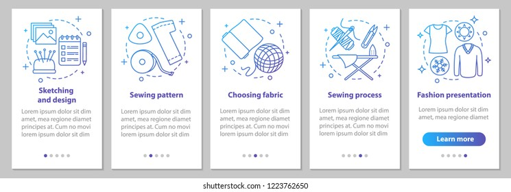 Dressmaking onboarding mobile app page screen with linear concepts. Tailoring. Sketching and design, sewing process, fashion presentation steps graphic instructions. UX, UI, GUI vector illustrations