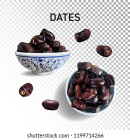 Dried Arabia sweet dates. Mediterranean dessert, snac and fruit. Realistic isolated fruit of date palm on transparent background.
