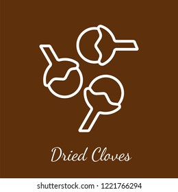 Dried cloves icon. Flavoring spices vector symbol.