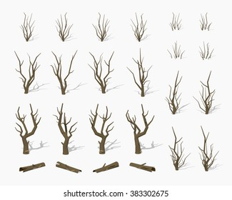 Dried dead trees. 3D lowpoly isometric vector illustration. The set of objects isolated against the white background and shown from different sides