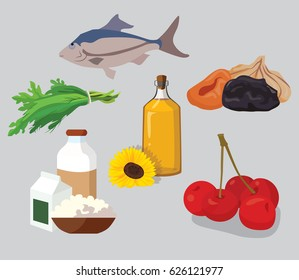 Dried fruits, cherries, dairy products, greens, vegetable oil, fish - useful products. For your convenience, each significant element is in a separate layer. Eps 10