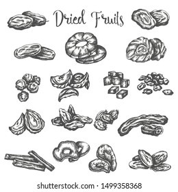 Dried fruits hand drawn illustration. Healthy snack Dry raisins, prunes and figs. Sketch of dehydrated pineapple, apricot Vector design for fruit shop or market isolated on white background