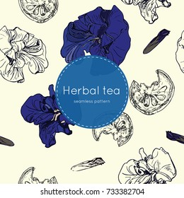 dried herbal thai tea- bael fruit , roselle and butterfly pea flower ,hand draw seamless pattern