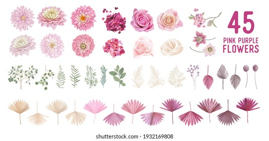 Dried pampas grass, dahlia, rose flowers, tropical palm leaves vector bouquets. Pastel watercolor floral template isolated collection for wedding wreath, bouquet frames, decoration design elements