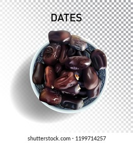 Dried sweet palm dates. Mediterranean and Arabia desserts, snac and fruits. Realistic isolated fruit of date palm on transparent background.