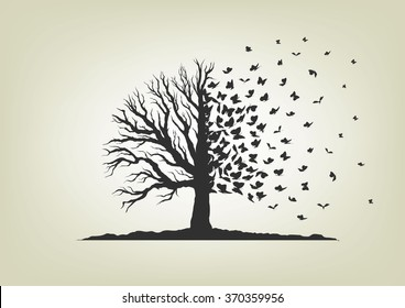 dried tree with branches and flying butterflies