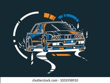 Drift Car Illustration. Unique Style. Amazing Design