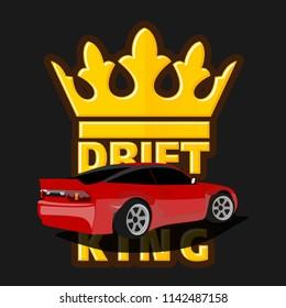 Drift car logo, drift king emblem, label, poster or design print.