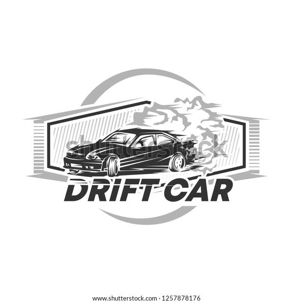 drift car racing vector illustration, drift car logo vector