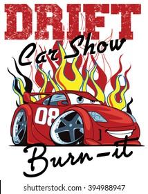 Drift Car Show. Vector Car. Illustration Car. Cartoon Car
