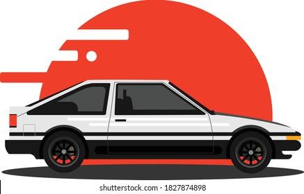 Drift Car Vector Illustration. Japanese Car Icon Illustration. Sticker Car Illustration