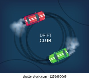 Drift club poster or web banner. Sport car drifting on race track. Motorsport competition. Top view flat vector illustration.