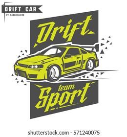 Drift sport team print for t-shirt,emblems and logo.
