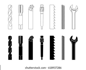 Drill bit screw-cutter milling cutter saw armature wrench vector illustration set for metalworking industry.