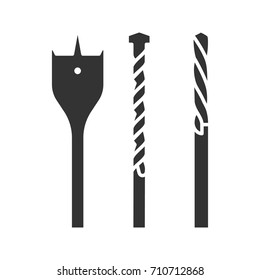 Drill bits glyph icon. Silhouette symbol. Negative space. Vector isolated illustration