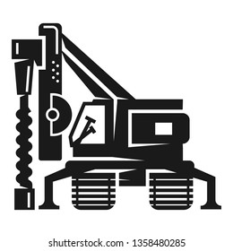 Drill excavator icon. Simple illustration of drill excavator vector icon for web design isolated on white background
