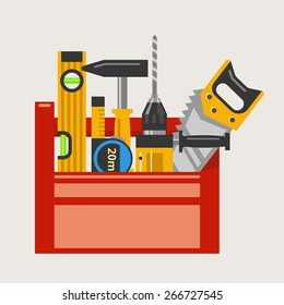 Drill and hammer, saw and level and tape measure in a red toolbox. Vector illustration