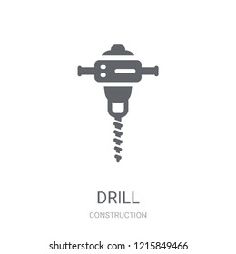 Drill icon. Trendy Drill logo concept on white background from Construction collection. Suitable for use on web apps, mobile apps and print media.