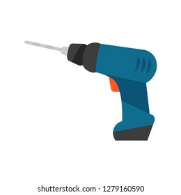 Drill illustration. Electric tool, driver, machine. Housekeeping concept. Can be used for topics like home repair, fixing, maintenance