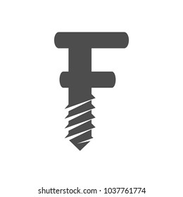 drill and letter F vector logo.