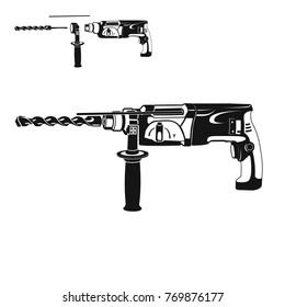 drill machine vector hand electric black white