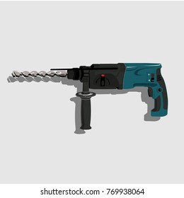 drill machine vector hand electric plastic object