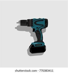 drill machine vector hand electric plastic object screwdriver