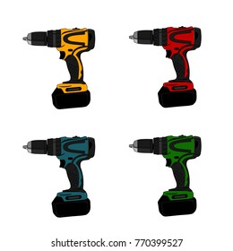 drill machine vector hand electric plastic object screwdriver color