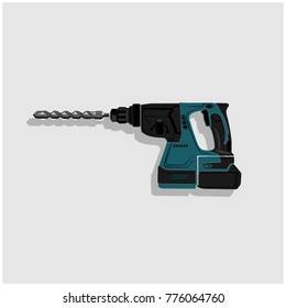 drill machine vector object, perforator industrial