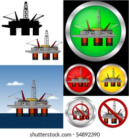 Drill rig Web Buttons and graphic set.