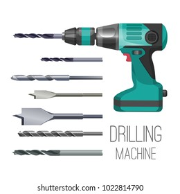 Drilling machine or hand drill fitted with cutting or driving tool