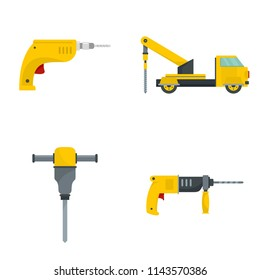 Drilling machine rig electric icons set. Flat illustration of 4 drilling machine rig electric vector icons isolated on white