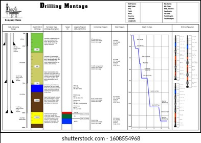 Drilling montage for planning drill oil well. Most complete general format in vector drawing template. Useful for oil and gas industry working plan.