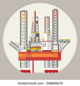 Drilling rig at sea. Oil platform, gas fuel, industry offshore, drill technology, flat vector illustration. Ecology Concept .